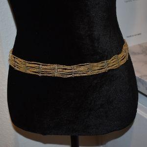 Iridescent Beaded and Silver rosette belt